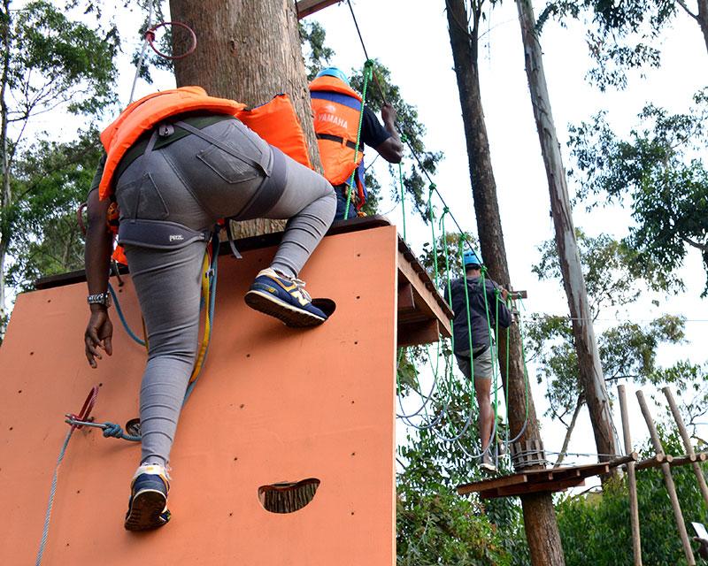 Obstacle challenge at Lake Bunyonyi in Uganda southwest highlands on safari with Kwezi Outdoors
