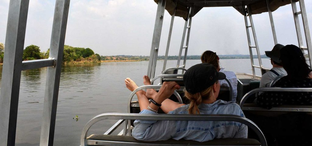 A private sunset game cruise on the Nile River in the Murchison Falls National Park, Uganda with Kwezi Outdoors